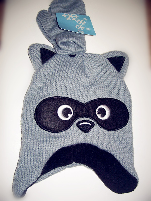 Stocking Cap / Hat Boys Gray & Black Bear Hat with Mittens
