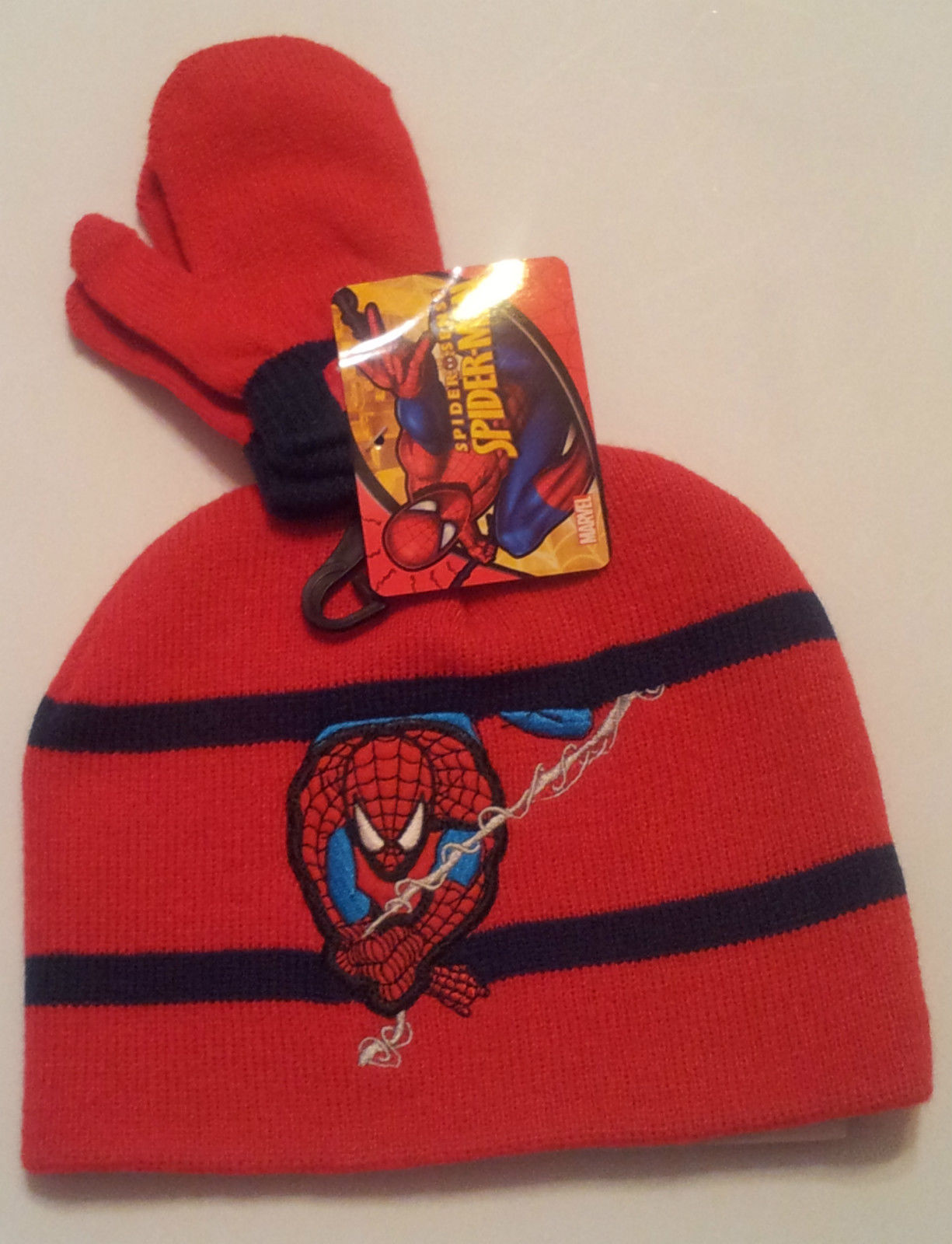 Marvel-toddler-boys - hat-and-mitten-set-red-blue-acrylic