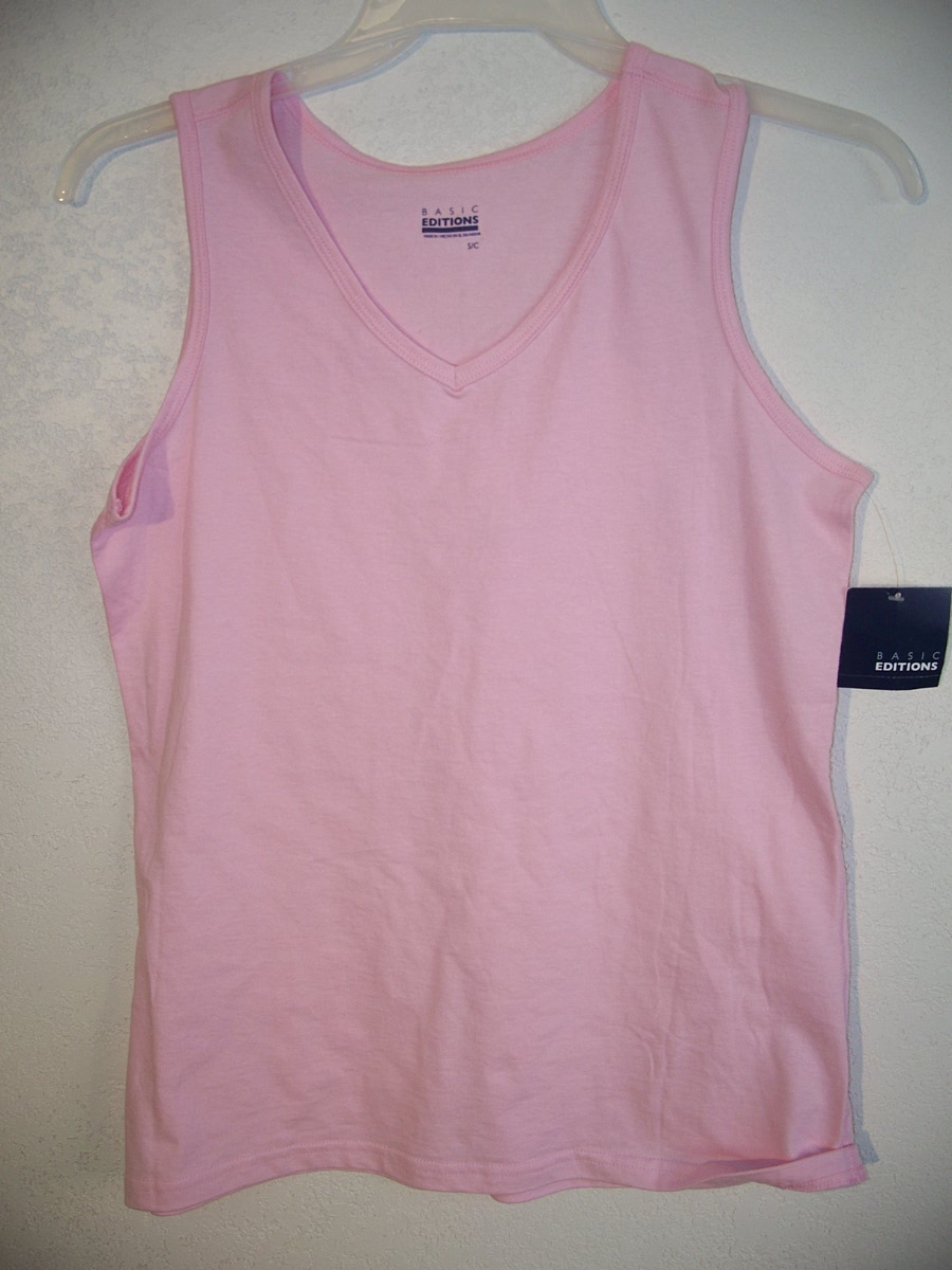 Basic Editions Sz S Womens Pink Tank Top
